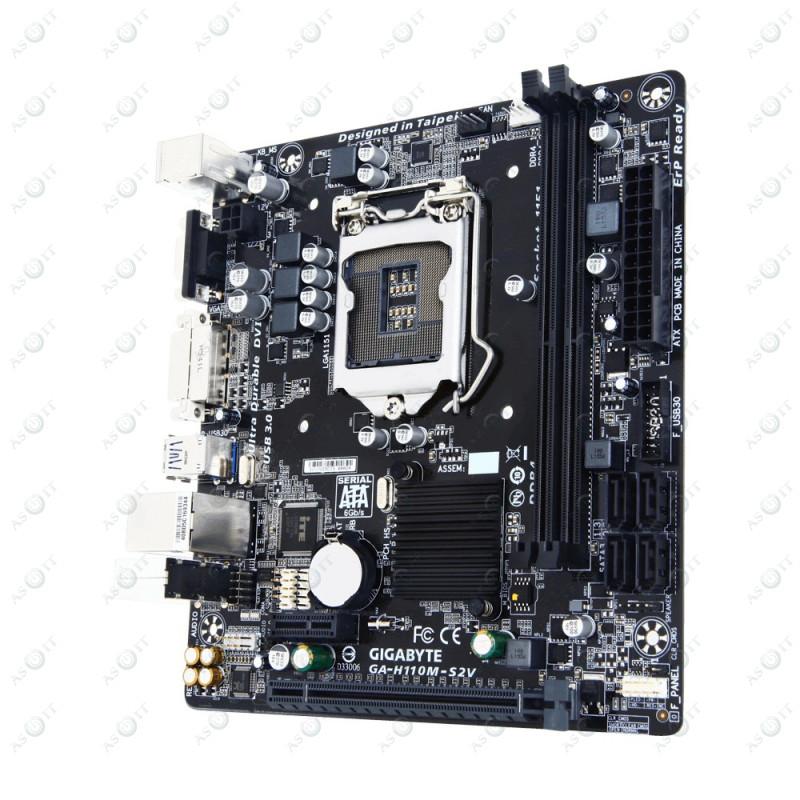БУ Материнская плата s1151, Gigabyte GA-H110M-S2V (2xDDR4, Intel H110, PCI-Ex16x1, VGA, DVI, MiniITX